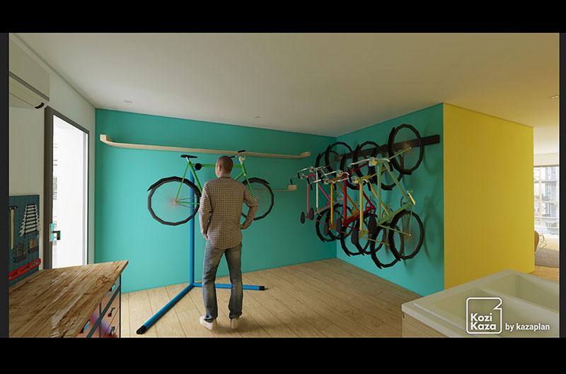 Projection en vue 3D de l'atelier de réparation cycle